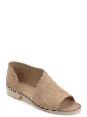Women's Faux Leather D'orsay Asymmetrical Open-toe Flats
