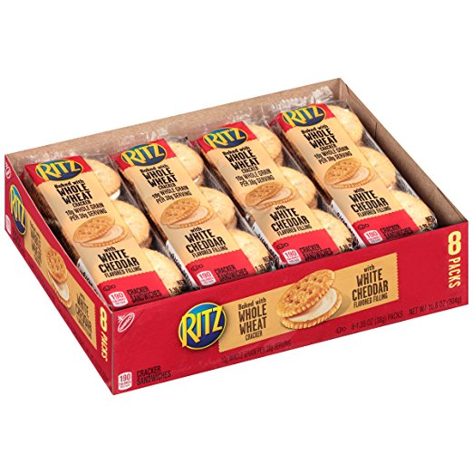 (3 Pack) Ritz Whole Wheat Cracker Sandwiches & White Cheddar Filling, 10.8 Oz