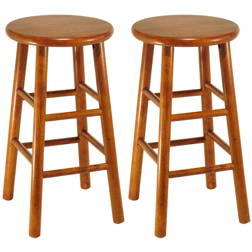 "Wood Beveled Seat, Kitchen Stool, 24"", Set of 2, Cherry"