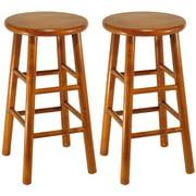 wood beveled seat kitchen stool 24 set of 2 cherry. Interior Design Ideas. Home Design Ideas