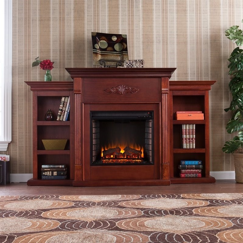 Southern Enterprises Fredricksburg Electric Fireplace w  Bookcases in Mahogany by Southern Enterprises