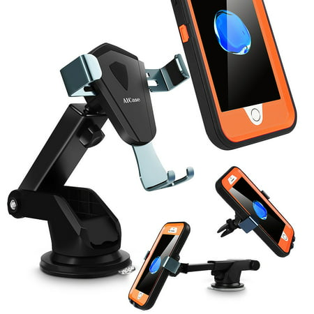 360° Universal Gravity Car Mount Air Vent Windshield Dashboard Holder Cradle Stand For Cell Phone GPS Samsung Galaxy S9/S9 Plus/S8/S8+/Note 8,iPhone X/8/8 Plus/7/7 Plus -