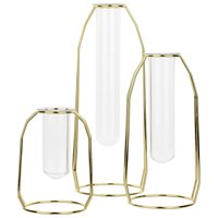 Koyal Wholesale 3 Piece Gold Metal Clear Glass Test Tube Bud Vase, Hydroponic Plant Vase Holders