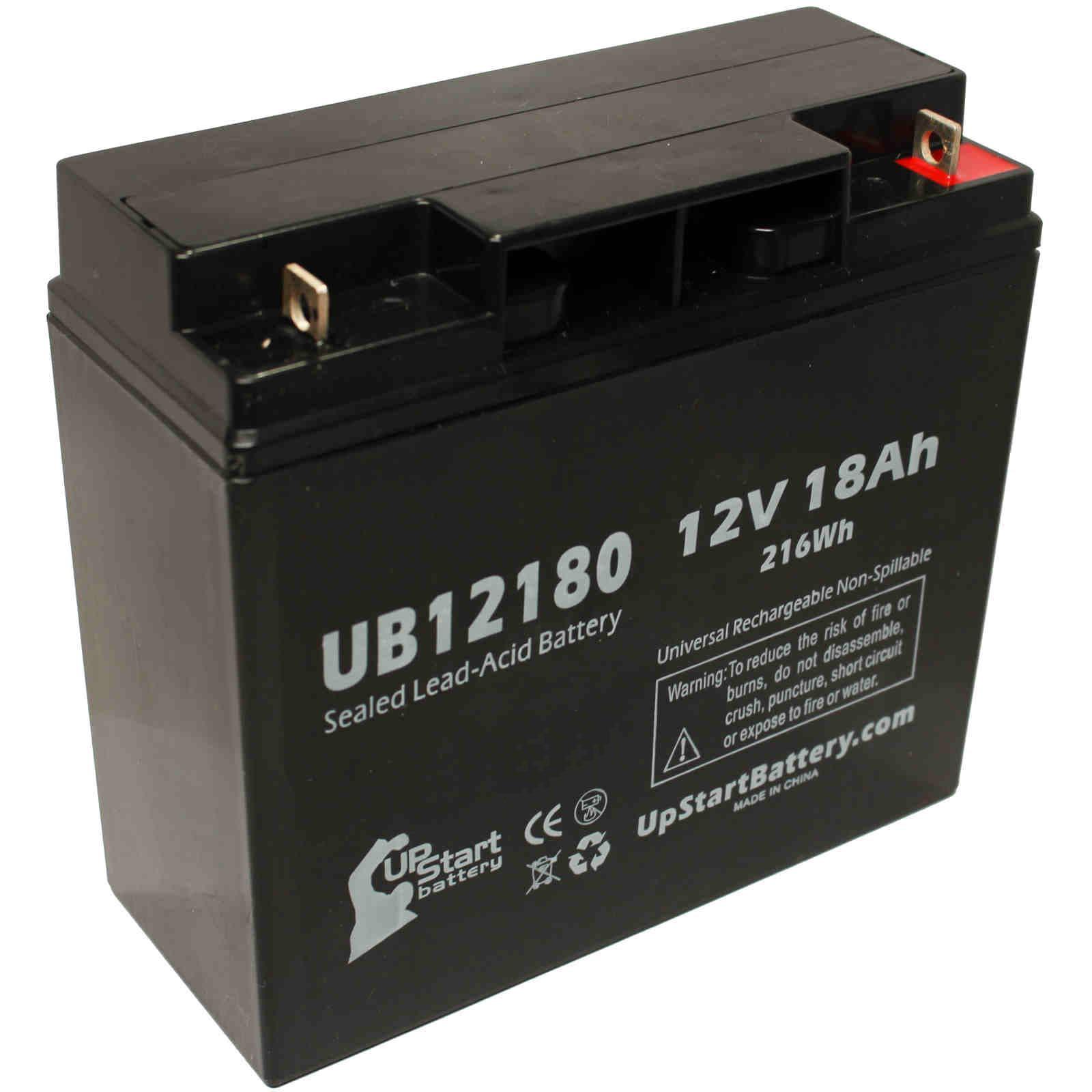 2x Pack - PANASONIC LCRD1217P Battery Replacement -  UB12180 Universal Sealed Lead Acid Battery (12V, 18Ah, 18000mAh, T4 Terminal, AGM, SLA)
