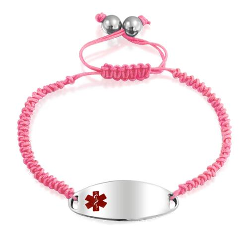 Bling Jewelry Stainless Steel Teen Girls Pink Enamel Oval Medical ID Tag Adjustable Bracelet