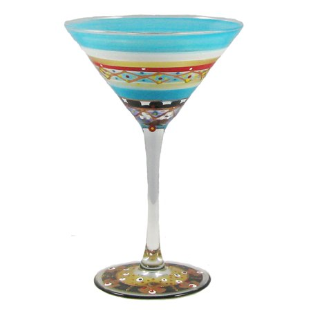Set of 2 Mosaic Carnival Confetti Hand Painted Martini Drinking Glass - 7.5 Oz.](Carnival Drinks)
