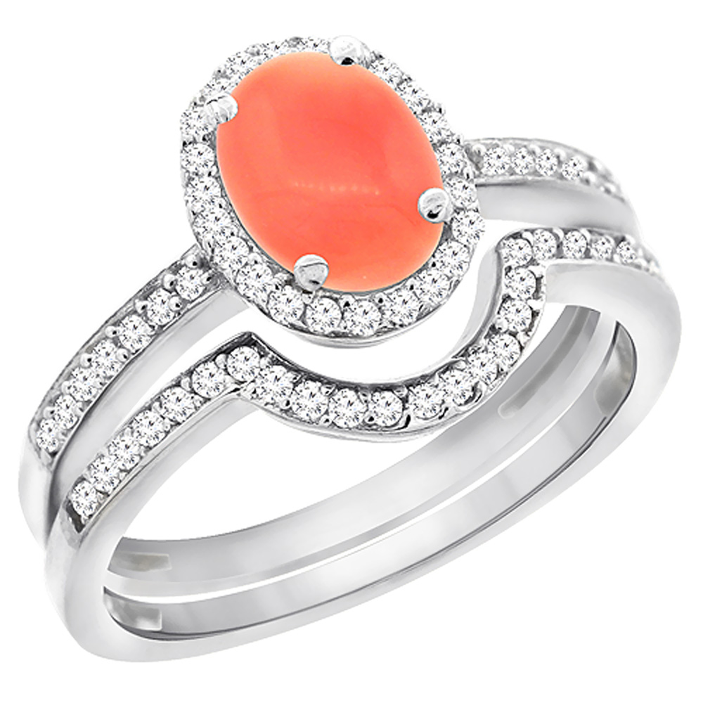 14K White Gold Diamond Natural Coral 2-Pc. Engagement Ring Set Oval 8x6 mm, size 6.5 by Gabriella Gold