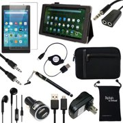 """Fire HD 10 2015 Case and Accessories - DigitalsOnDemand ® 12-Item Kit for Amazon Fire HD 10"""" 5th Generation Tablet - Leather Case, Sleeve Cover, Screen Protector, Stylus Pen, USB Cables + Charger"""