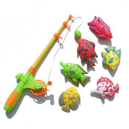 Magnetic Fishing Toy Set Fun Time Fishing Game With 1 Fishing Rod and 6 Cute Fishes for Children Random Color (Fishing Toys)