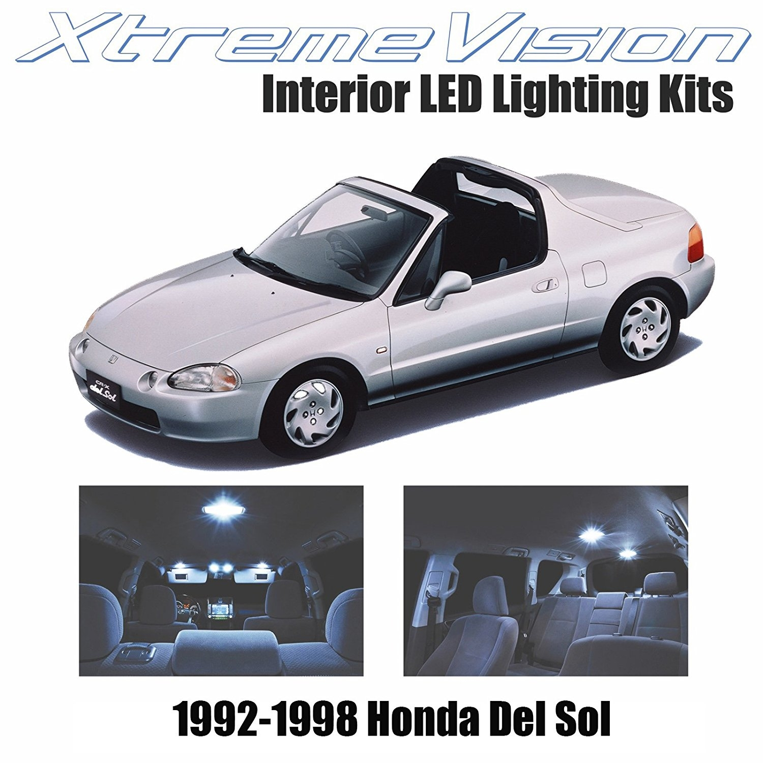 XtremeVision LED for Honda Del Sol 1992-1998 (2 Pieces) Cool White Premium Interior LED Kit Package + Installation Tool