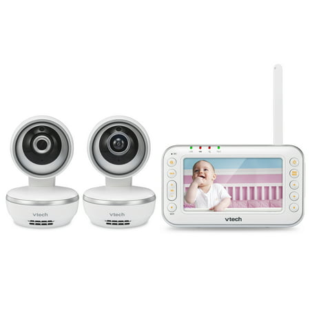 VTech VM4261-2 4.3' Digital Video Baby Monitor with 2 Pan & Tilt Cameras and Wide-Angle Lens and Standard Lens, White