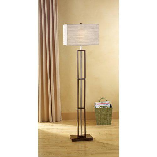 Mainstays dark wood floor lamp gray walmartcom for Mainstays floor lamp with table walmart