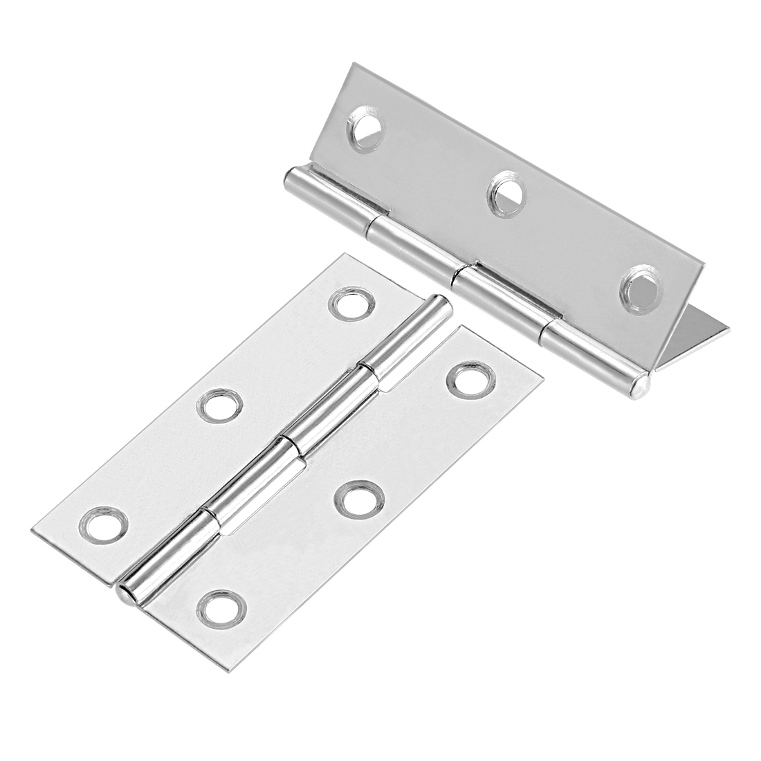 "Uxcell 2.6""  Hinge Silver Door Cabinet Hinges Fittings Brushed Chrome Plain 10pcs - image 2 de 6"