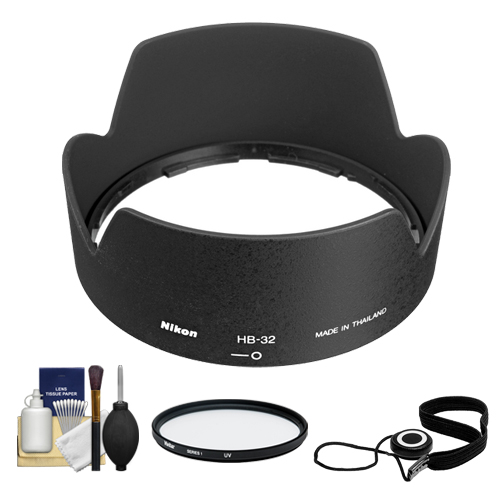 Nikon HB-32 Bayonet Lens Hood for Nikon 18-135mm, 18-105mm, 18-140mm VR DX Zoom-Nikkor + Filter + Accessory Kit (with D3100, D320, D5100, D5200, D7000 & D7100 Digital SLR Camera)