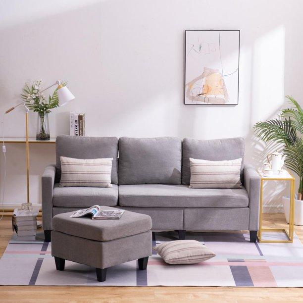 Zimtown Reversible Sectional Sofa Couch for Small Apartment L Shape Sofa Couch Corner Couch Light Grey