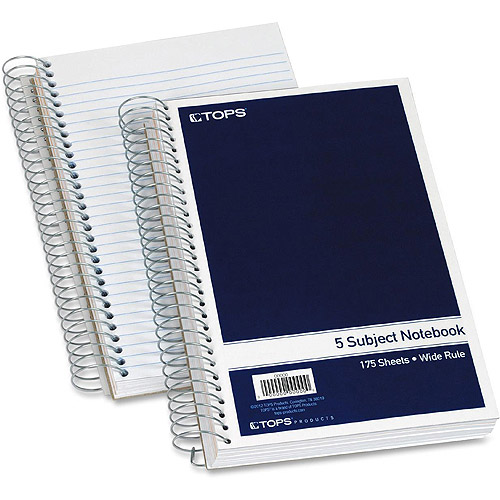 Tops 5-Subject Wirebound Notebook