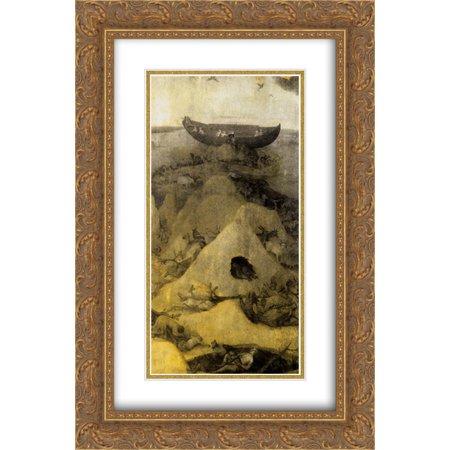 - Hieronymus Bosch 2x Matted 16x24 Gold Ornate Framed Art Print 'Noah's Ark on Mount Ararat (obverse)'