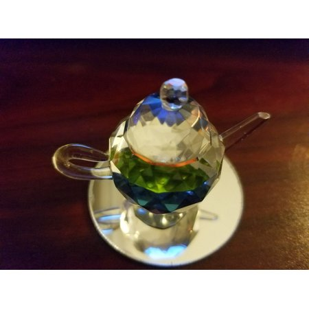Dollhouse Miniatures Glass Multicolor Teapot with Handle & Bottom Mirror Crystal