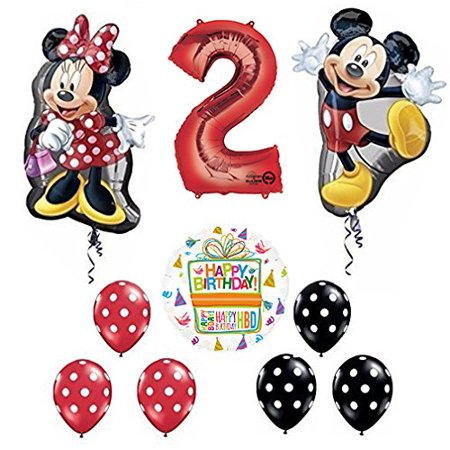 Mickey and Minnie Mouse Full Body 2nd Birthday Supershape Balloon Set (Mickey Mouse Shaped Balloons)