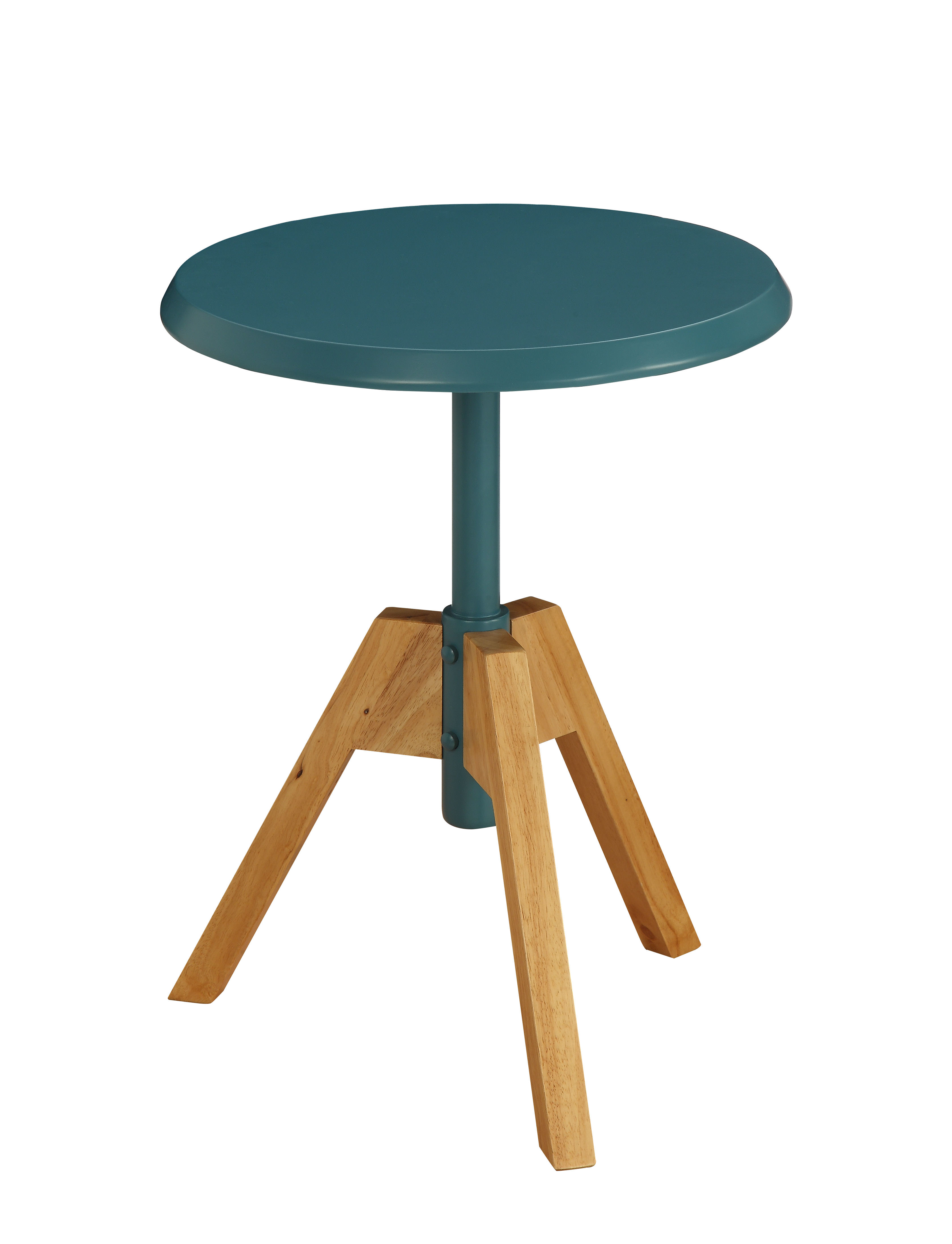 ACME Lumina Round End Table In White And Natural Tripod
