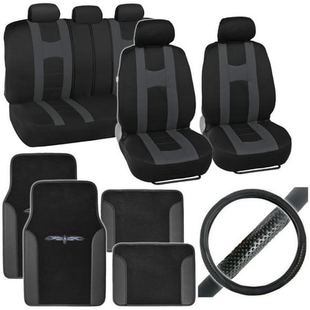 BDK Rome Sport Car Seat Covers with Floor Mats and Steering Wheel Cover Full Set