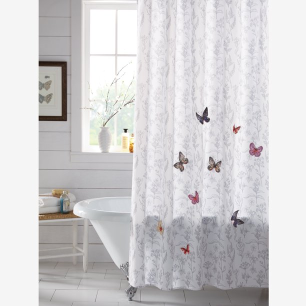 BrylaneHome Mariposa Shower Curtain