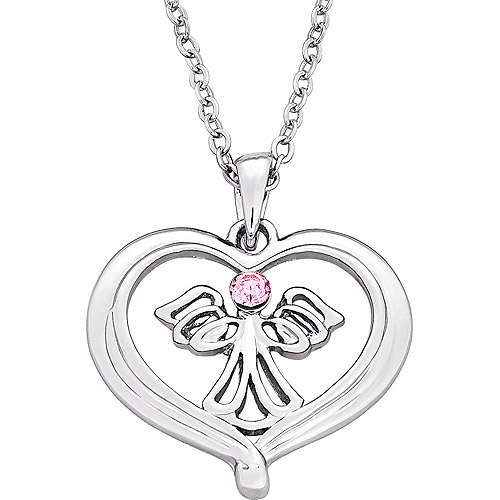 "Angel Heart Silver-Plated Pendant, 18"" with 3"" extender"