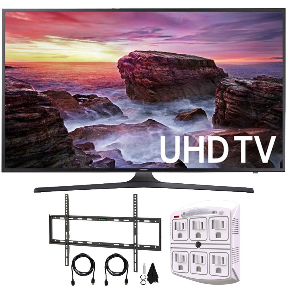 """Samsung UN65MU6290FXZA Flat 64.5"""" LED 4K UHD 6 Series Smart TV (2017) + Flat Wall Mount Kit Ultimate Bundle for 45-90 inch TVs + 750 Joule 6-Outlet Surge Adapter with Night Light"""