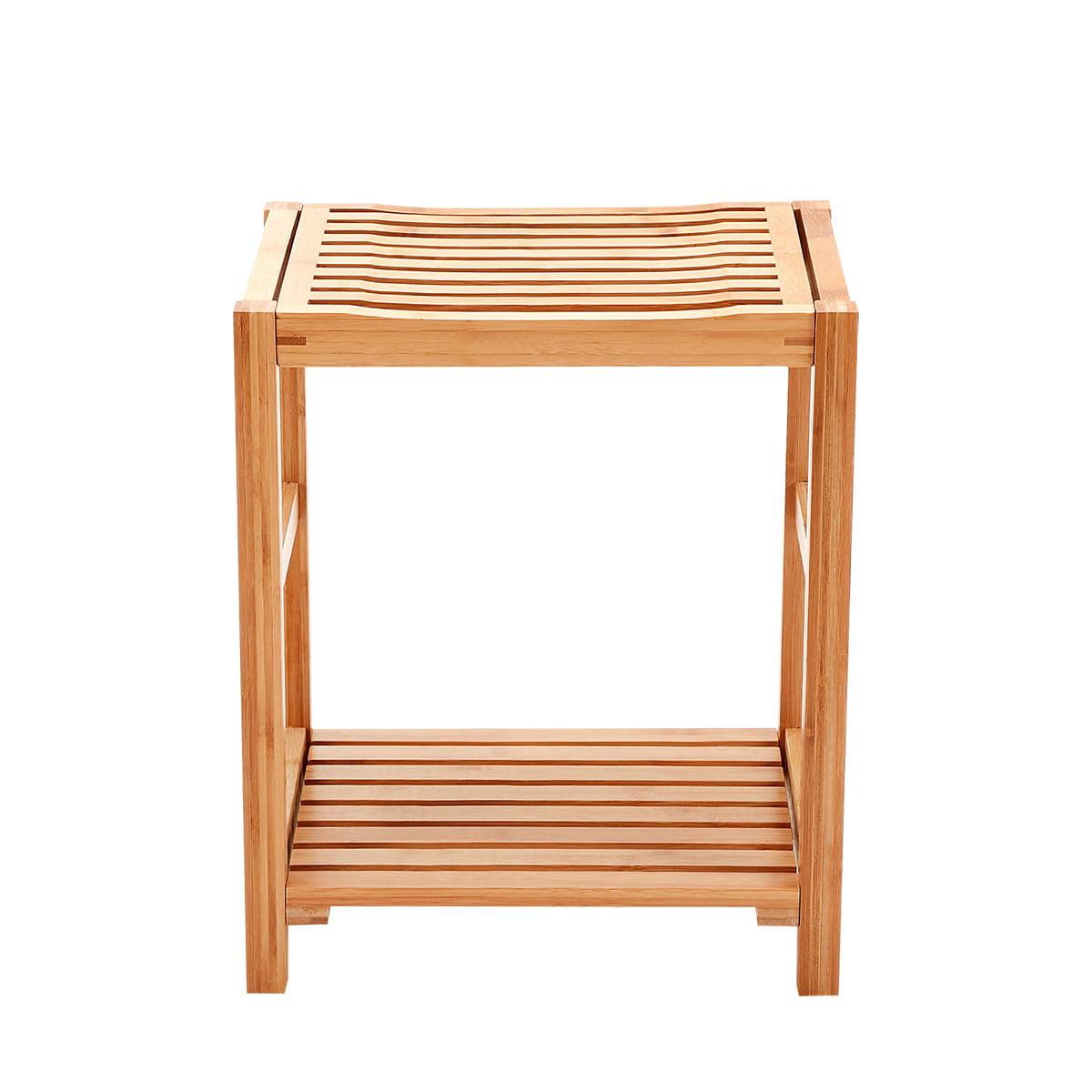New Ridge Home Natural Bamboo Shower Bench Seat, Shaving Stool, Spa Bath Bench with Storage Shelf
