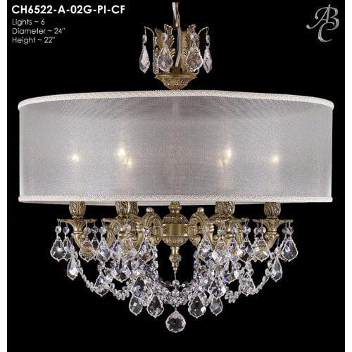 American Brass & Crystal Llydia 6-Light Chandelier