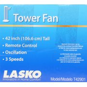 Lasko 42 Wind Curve Tower Fan With Ionizer Charcoal Gray T42902 Image 4