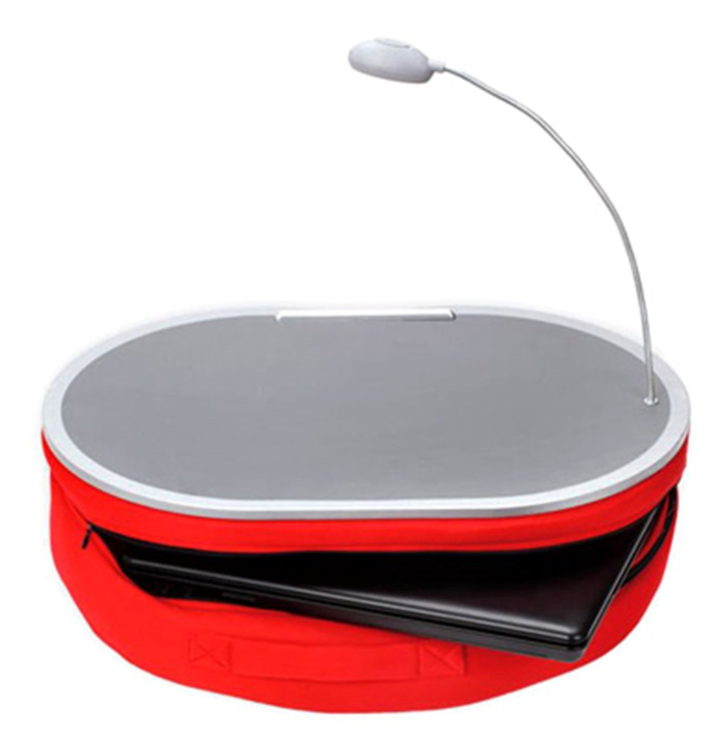"""Portable Lap Desk With LED Lamp, 18"""" x 15"""" - Handy Zippered Storage For Laptop Computer - Adjustable LED Work Light - Light Weight Travel Workstation With Microbead Cushion - Laptop Lapdesk, Black"""