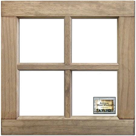 salvaged 4 pane wood window frame weathered wood 16 x