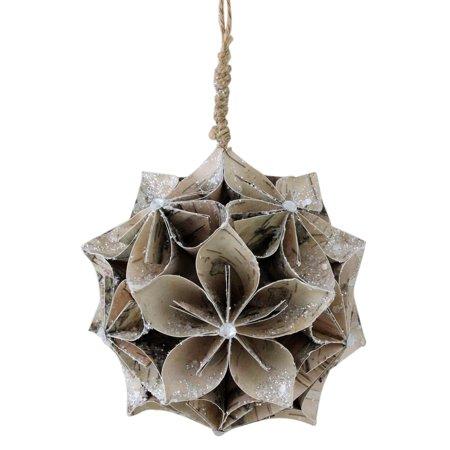 Northlight Natures Luxury Glittered Wood Grain Flower Ball Christmas Ornament