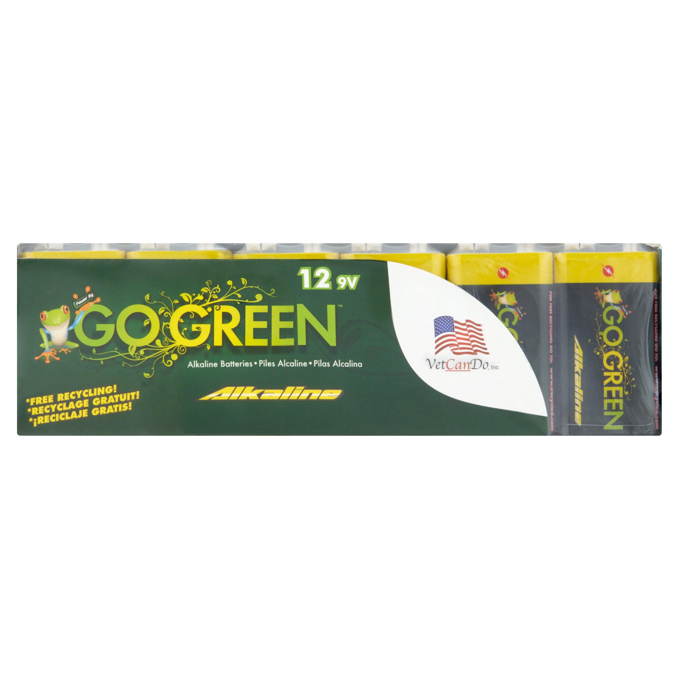 Go Green Alkaline 9V Batteries, 12 Count
