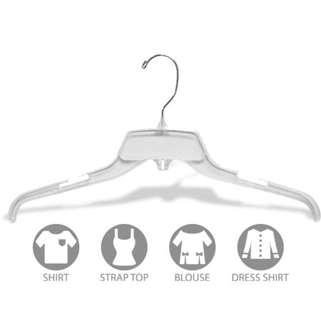Clear Plastic Top Hanger, Box of 100 Space Saving Hangers w/ Notches and 360 Degree Swivel Hook for Shirt or Dress by International