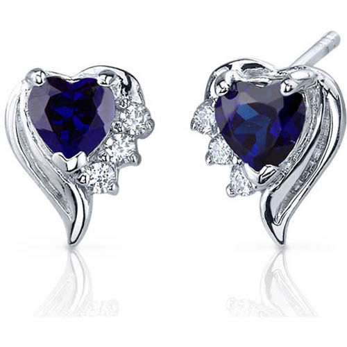 Oravo 1.50 Carat T.G.W. Heart-Shape Created Blue Sapphire CZ Rhodium over Sterling Silver Stud Earrings