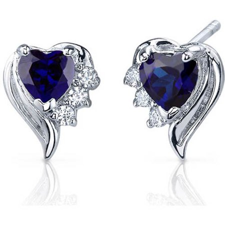 1.50 Carat Heart-Shape Created Blue Sapphire CZ Rhodium over Sterling Silver Stud Earrings