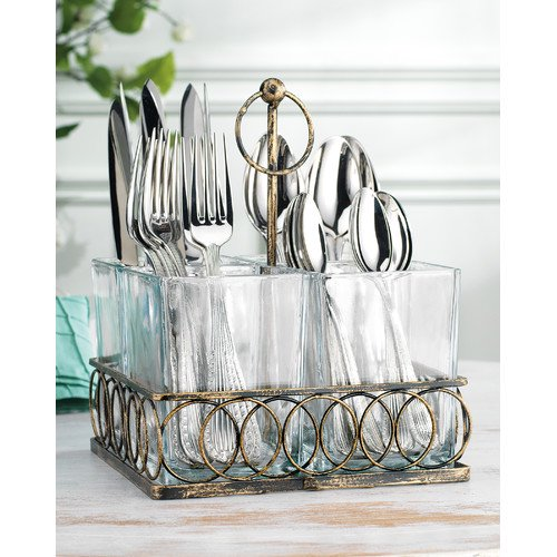 Home essentials and beyond 4 section square utensil caddy for Wedding table organizer