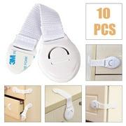 10pcs Adhesive Baby Child Kids Infant Safety Cabinet Cupboard Door Fridge Wardrobe Drawer Lock
