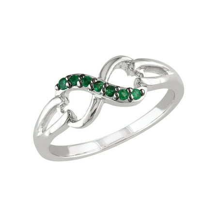 Natural Green Emerald Infinity Ring 1/7 Carat (ctw) in Sterling - Natural Emerald Ring