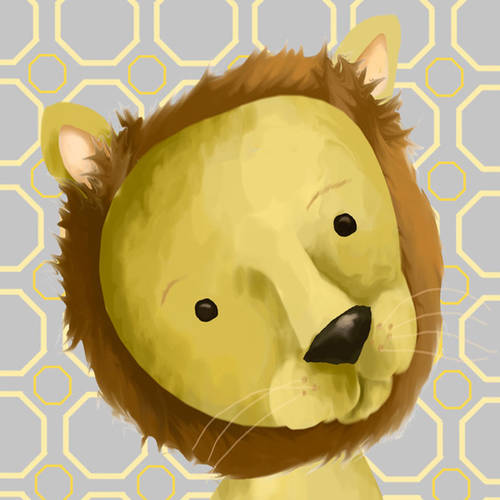 Oopsy Daisy's Rauri the Lion, Yellow and Grey Canvas Wall Art, Size 10x10