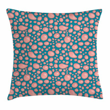 Decorative Prep Drop - Pale Pink Throw Pillow Cushion Cover, Drops and Round Splash of Bubble Gum on Blue Background in Cartoon Style, Decorative Square Accent Pillow Case, 18 X 18 Inches, Petrol Blue Coral, by Ambesonne