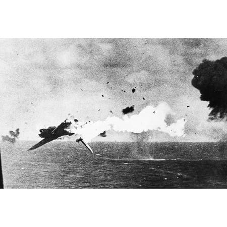 Japanese Kamikaze Plane Shot Down by a US Warship, 1940S Print Wall