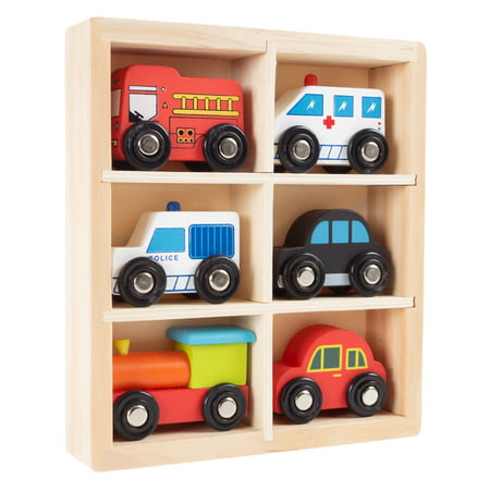 - Wooden Car PlaySet-6-Piece Mini Toy Vehicle Set with Cars, Police and Fire Trucks, Train-Pretend Play Fun for Preschool Boys and Girls by Hey! Play!