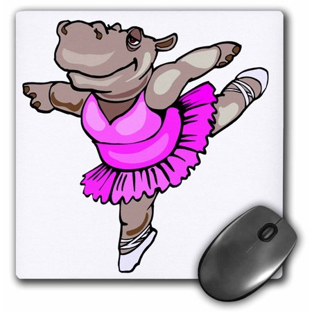 3dRose Hippo Ballet Dancer, Mouse Pad, 8 by 8 inches - Fantasia Hippo Ballet
