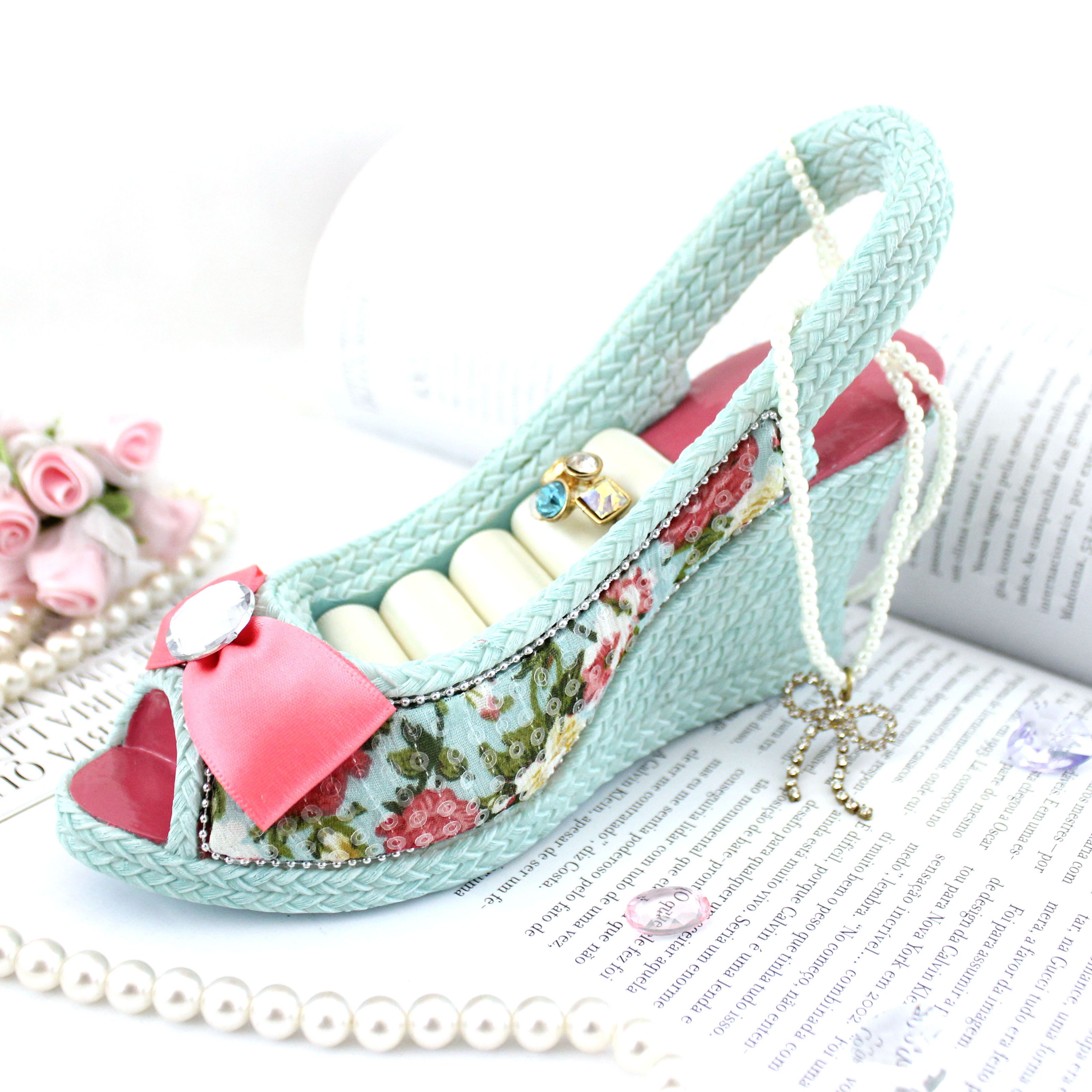 Shabby Chic Slingback Shoe Ring holder