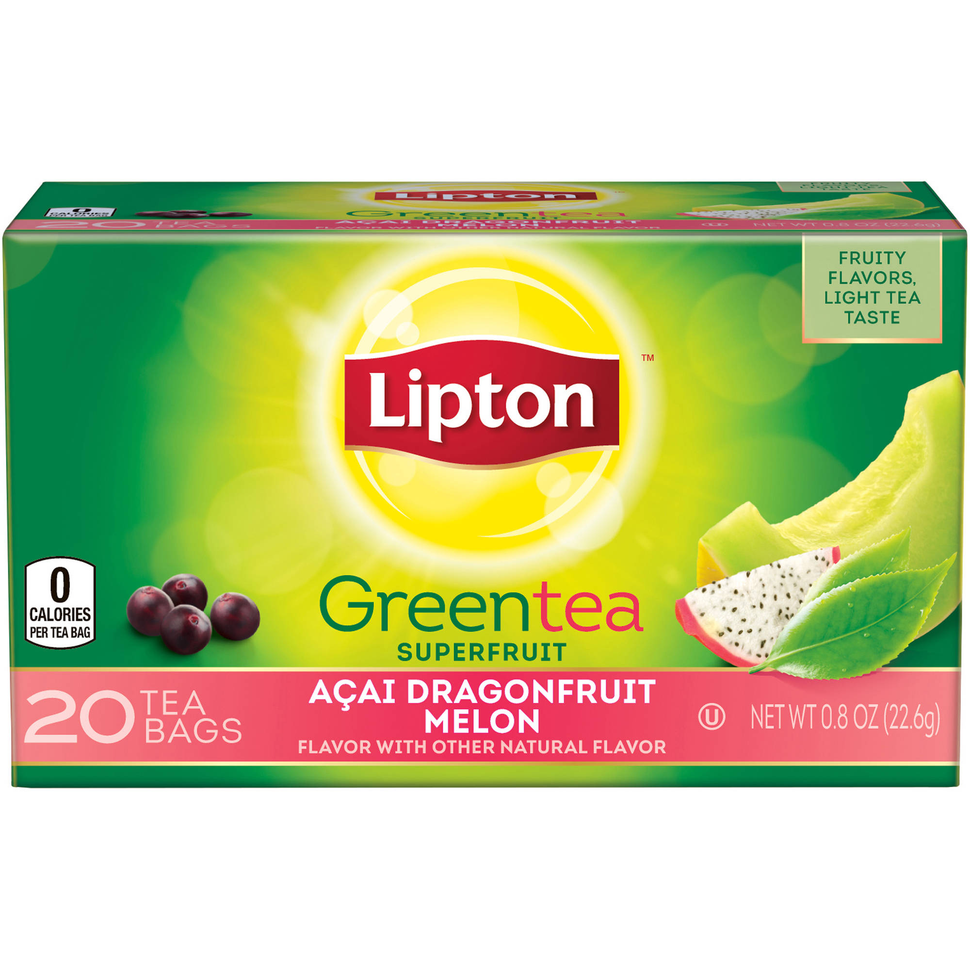 Lipton Dragonfruit Melon Green Tea Bags, 20 ct