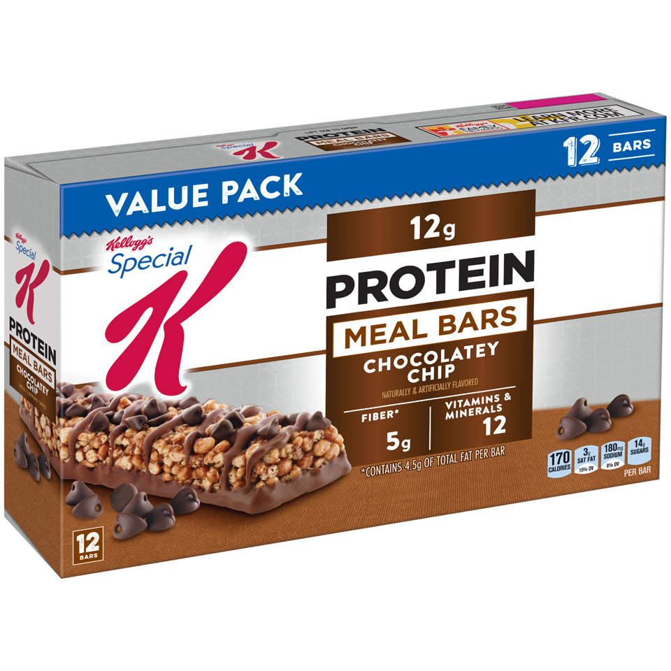 Kellogg's Special K Protein Meal Bar, Chocolately Chip, 12g Protein, 12 Ct