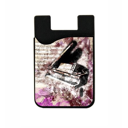 Piano Finish Business Card Holder - Abstract Musical Piano Design  - Stick On Adhesive Black Silicon Card Holder/ Pocket for Cell Phones